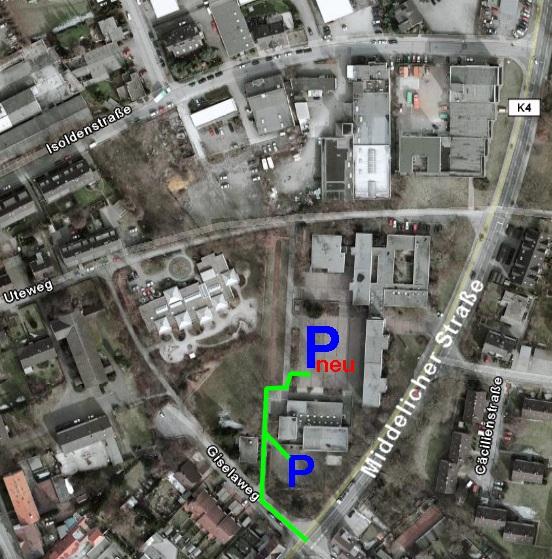 Umgebungsplan der Schule mit Parkmöglichkeiten