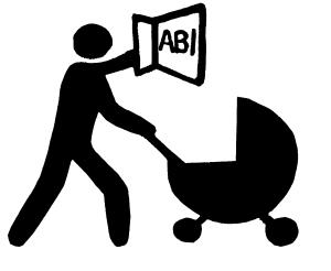 Illustration: Figur mit Kinderwagen auf dem Weg zum Abi