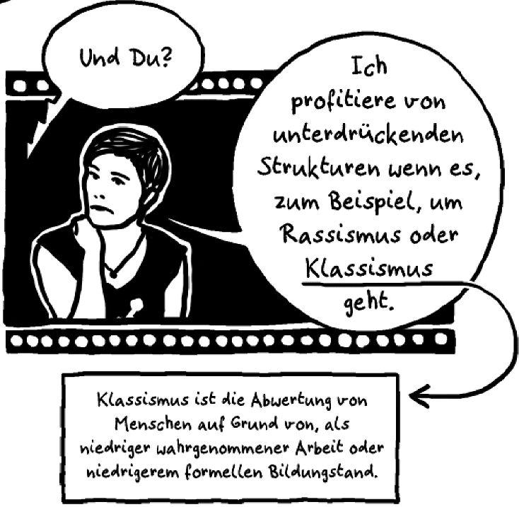 Comic: Klassismus ist die Abwertung von Mensch auf Grund von, als niedriger wahrgenommener Arbeit oder niedrigerem formellen Bildungsstand.