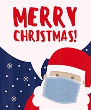 Foto: Weihnachtsman mit Mund-Nasen-Schutz
